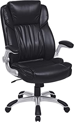 SONGMICS Extra Big Office Chair, High Back PU Executive Chair with Thick Seat and Tilt Function, Flip Up Arms, Black UOBG94BK