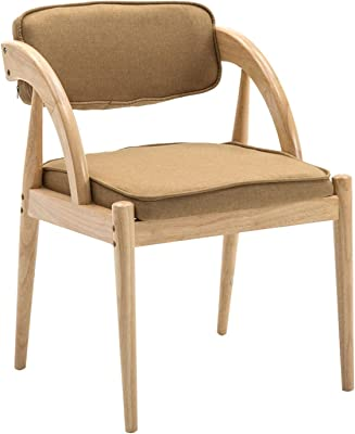 Living Room Corner Chairs,with Armrests Backrest Dining Chairs Cotton and Linen for Living Room Bedroom Reception Chair (Color : Khaki, Size : Wood Color)