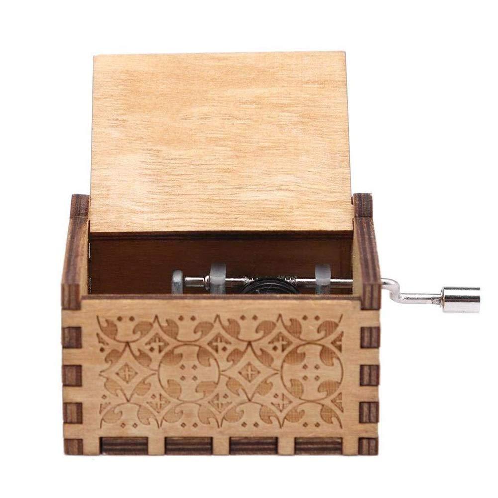 Aiyoudemutou Madera de la manivela Caja de música, Retro Cranked Partido de la Caja de música de la Mano Negro, la decoración del hogar artesanía: Amazon.es: Hogar