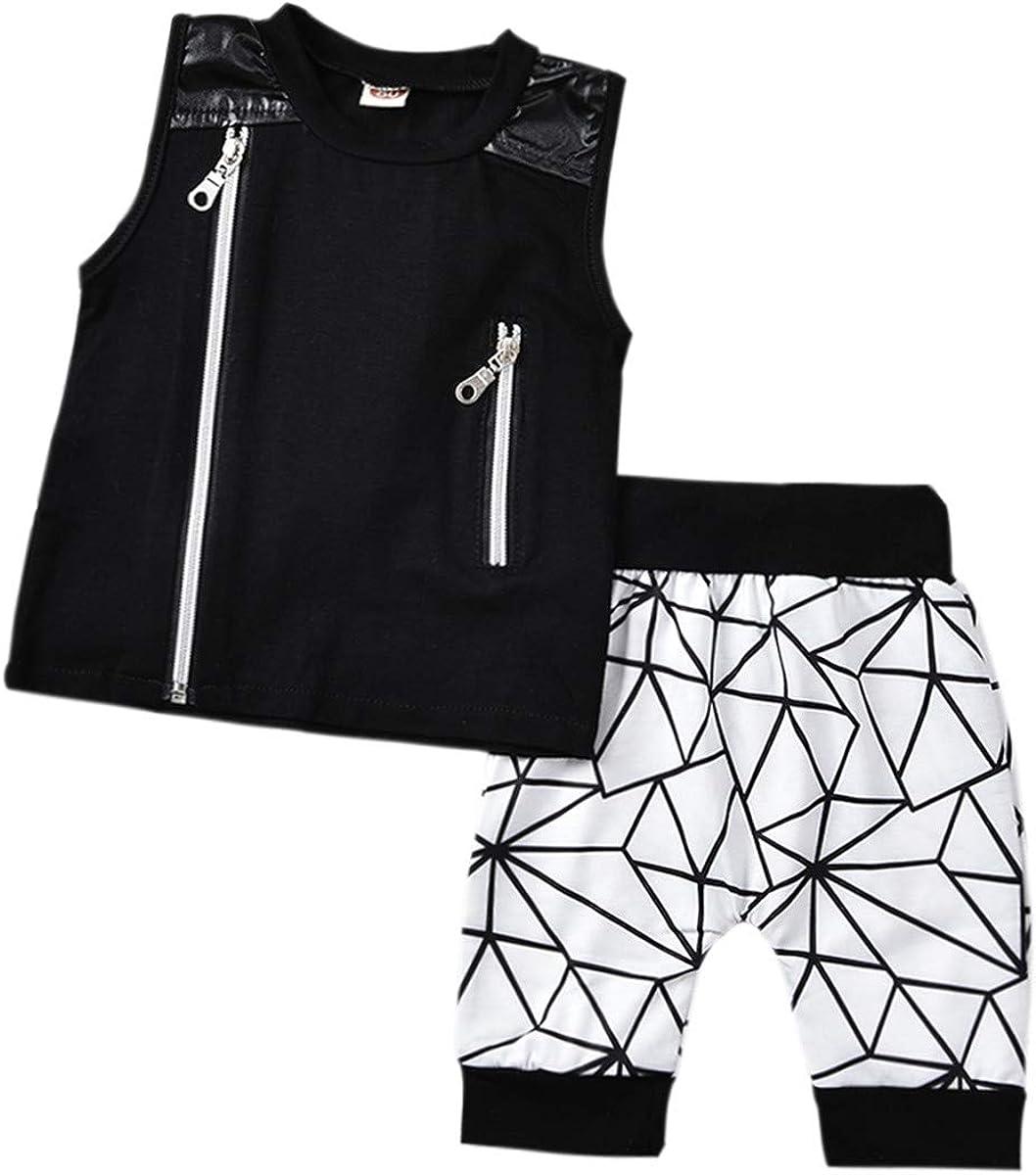 Toddler Baby Boy Outfits Sleeveless Shirt Tops Short Pants Sets Summer Clothes