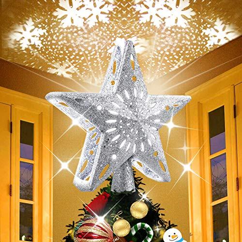 Kaufam Decoración de estrella para árbol de Navidad iluminada con proyector LED giratorio de copo de nieve blanco, adornos de árbol...