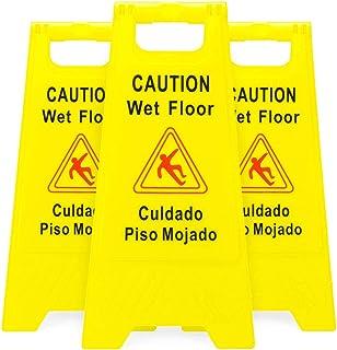 NOBLJX Letreros de Piso Mojado de precaución, Paquete de 6 '', Letrero de Advertencia Industrial de Doble Cara, Prevención de Accidentes por resbalones de otoño para el Lugar de Trabajo, Amarillo