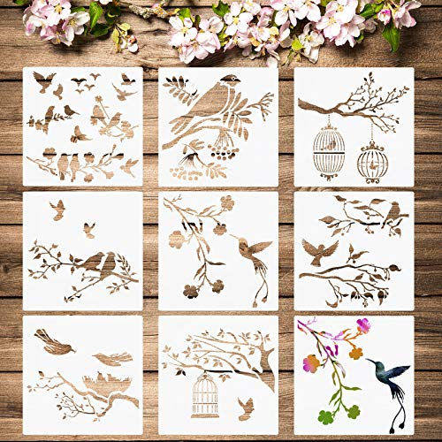 8 Plantillas de Pájaros Plantilla de Aves Ramas de Árboles Plantillas de Pintura de Aves Voladoras Plantilla Reutilizable de Dibujo de Hoja Flor Pájaro para Pintura Artesanía Pared DIY