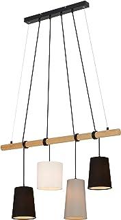 Briloner Leuchten Lámpara de suspensión, con 4 luces, 4x E14, máx. 25 vatios, con pieza de madera, colores: negro, blanco, gris 900 x 1,700 mm (largo x alto)