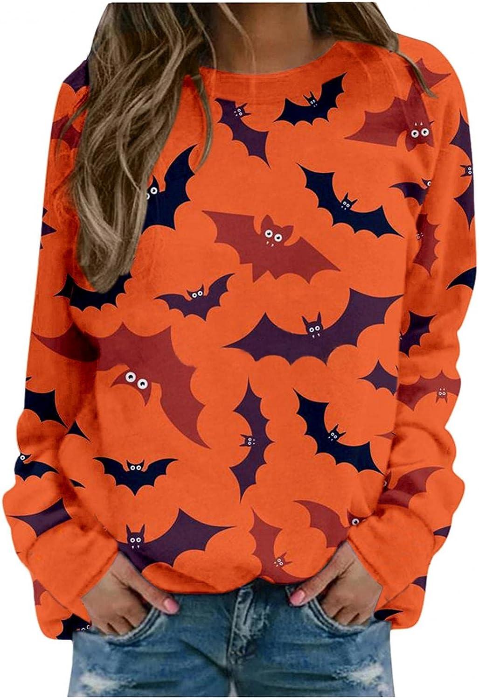 AIHOU Halloween Shirts for Women Long Sleeve Casual Pumpkin Face Print Graphic Sweatshirts Crewneck Sweatshirts Pullover Tops