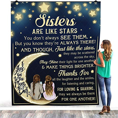 Sister are Like Stars You Don't Always See Them But You Know They're Always There Fleece Blanket Gift Birthday Graduation Wedding Home Fleece Blanket – Premium Sherpa Blanket
