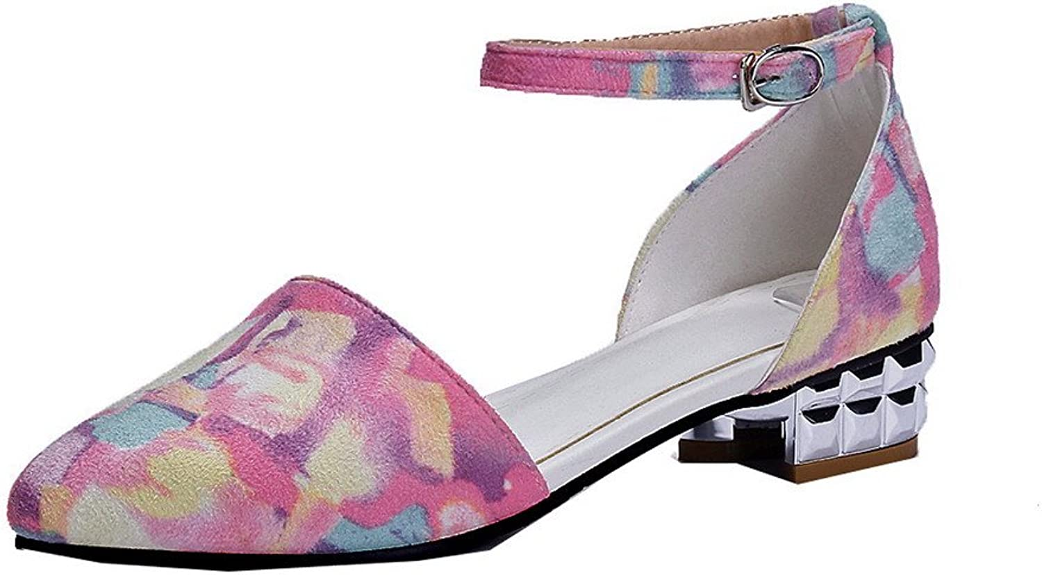 AllhqFashion Women's Closed Toe Low-Heels Frosted Solid Buckle Sandals