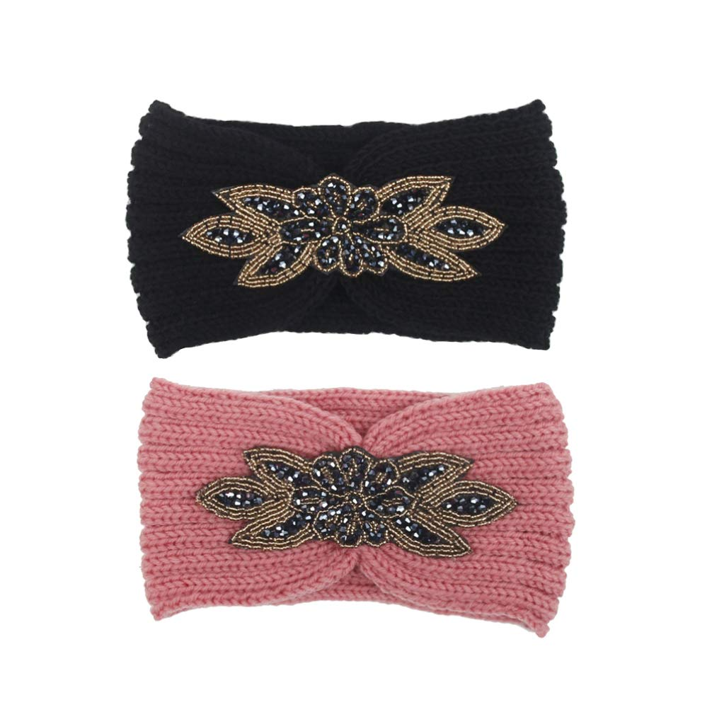Lurrose 2Pcs Womens Turban Headbands Winter Braided Elastic Knitted Hair Bands Ear Warmer Head Wrap for Girls Students Women