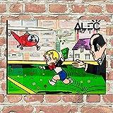 ZLARGEW Imprimir Monopoly Print Pintura al óleo Decoración para el hogar Arte de la Pared en Lienzo Corriendo en el Campo Monopoly Helicopter Impresiones en Lienzo / 40x60cm Sin Marco