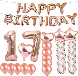 Sweet 17th Birthday Decorations Party Supplies,Rose Gold Number 17 Balloons,17th Foil Mylar Balloons Latex Balloon Decoration,Great 17th Birthday Gifts for Girls,Women,Men,Photo Props