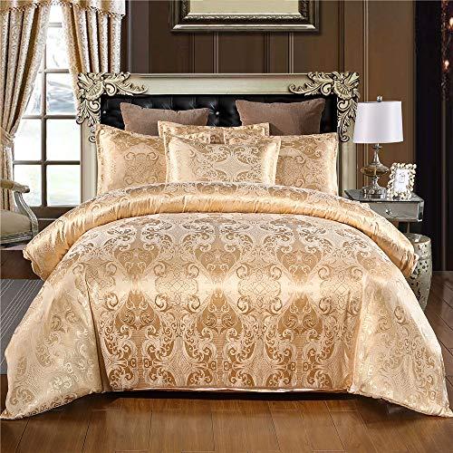 Odot Jacquard Bettwäsche Set 2 Teilig, 100% Mikrofaser Eleganter Barock Druck Weiche mit Reißverschluss Schließung Bettbezug Garnitur und Kissenbezug (135x200cm-2pcs,Golden)