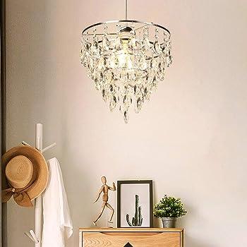 DINGLILED シャンデリア クリスタル ペンダントライト 1灯 LED対応 E26 ガラス 水晶 天井照明 照明器具 シーリングライト おしゃれ 豪華 リビング ダイニング 北欧 電球別売り
