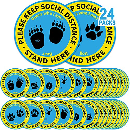 24 Pack 8' Social Distancing Floor Stickers, Keep 6 Feet Distance Floor Sign, Please Wait Stand Here Label, 6 ft Vinyl PVC Public Decal, Footprint Marker for Kid, Crowd Control, Office, Classroom