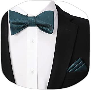 HISDERN Bow Tie Pocket Square Set Self Tie Bow Ties Solid Color Bow Ties for Men Handkerchief with Gift Box Bowtie for Wed...