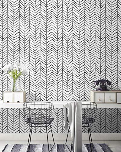 HORLLM Moderne Streifen-Tapete zum Abziehen und Aufkleben, abnehmbar, selbstklebend, Fischgrätenmuster, Schwarz / Weiß, 45 x 6 m