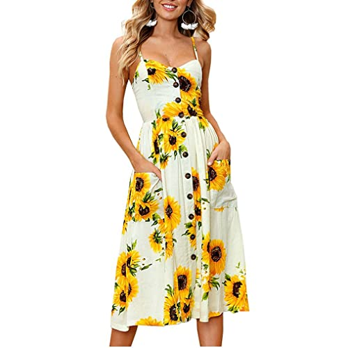 aac04308d Halife Womens Dresses Summer Floral Spaghetti Strap Button Up Midi Dress  with Pockets