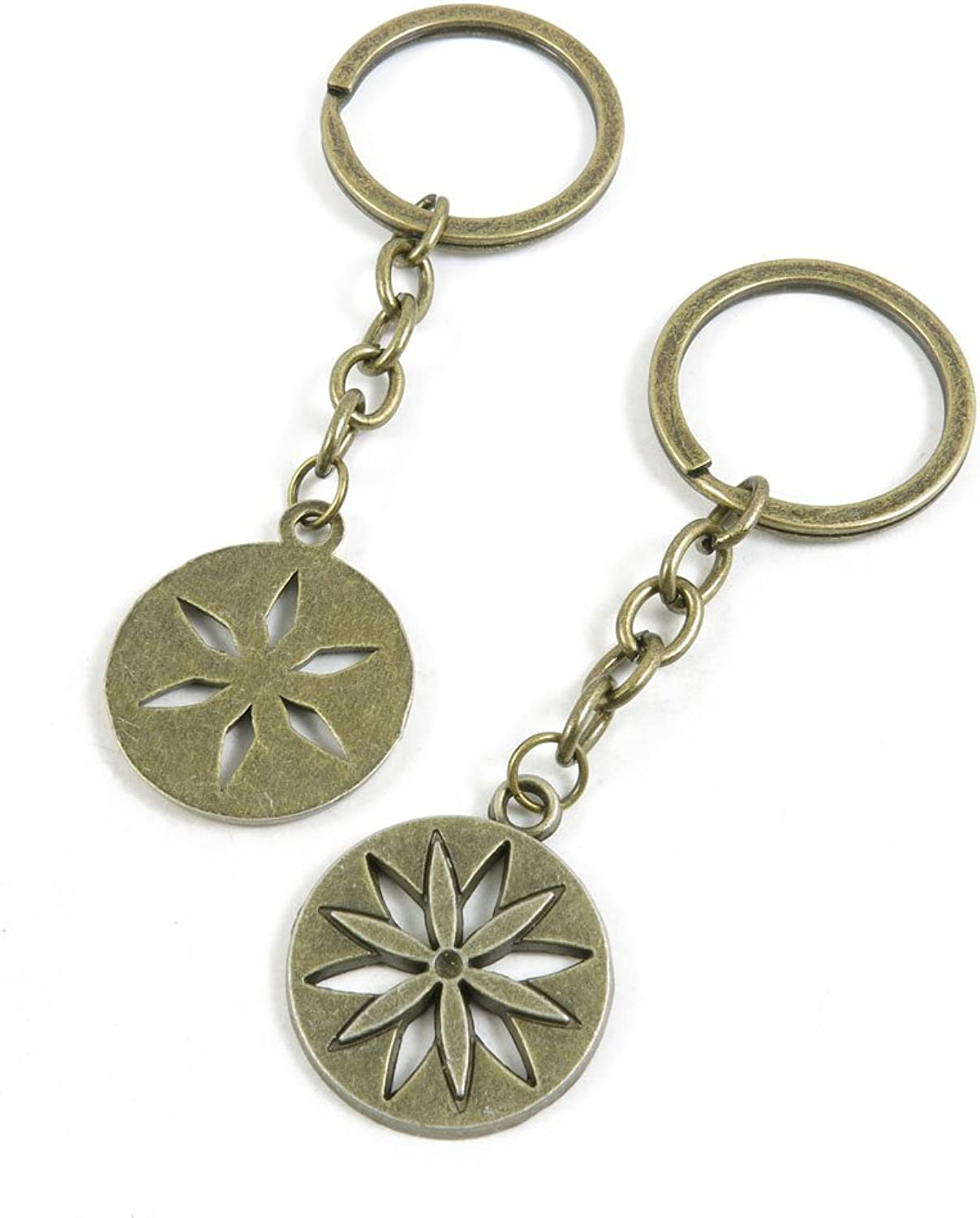 120 Pieces Fashion Jewelry Keyring Keychain Door Car Key Tag Ring Chain Supplier Supply Wholesale Bulk Lots E3ST2 Flower Round Tags