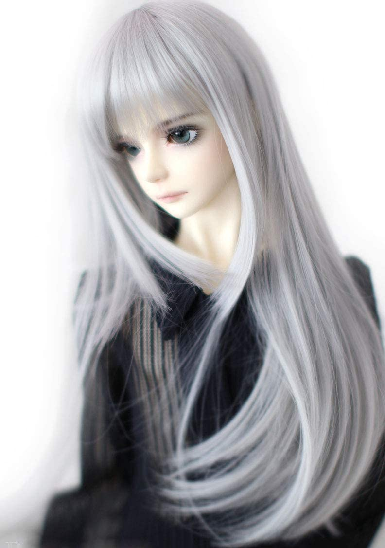 HUAL 1 4 7-8inch Year-end gift Bjd Doll supreme Hair Straight Insi Roll Wig Long Layer