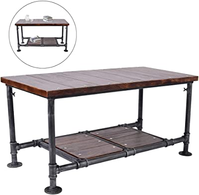 """Diwhy Industrial Metal Coffee Table End Table with Rustic Pine Wood Vintage Tea Table(Two Layers, 18.5"""" Height)"""