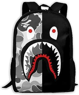 Ba-pe Shark Half Gray Camo Unisex Backpack Shoulder Bag School Backpack Travel Bags Laptop Backpack