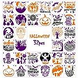UCEC 32 PCS Halloween Stencils, Reusable Plastic Halloween Stencils, Template DIY Decorative Halloween Designs for DIY Card, Face Painting, Wood Fabric Pumpkin Window Walls Spraying (5.1 x 5.1 Inch)
