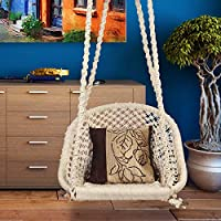 Halder Jute Regular Indoor Outdoor D Shape Hanging Swing Chair (Cotton, White, 150 * 65 * 72 cm)