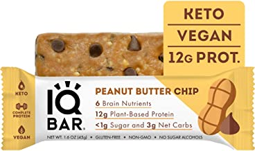 IQ BAR Vegan Gluten Free Keto Bars – Low Carb Protein Bars Healthy Keto Snack in Peanut Butter Chip Flavour – Tasty Paleo Snack Pack of 12 1 6 oz Bar Estimated Price : £ 26,99