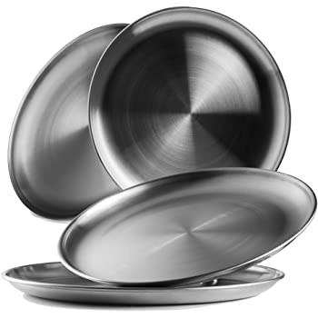 Stainless Steel Quarter Pate Dinner Set of 6 Mess Trays Great for Camping