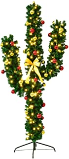 7Ft Pre-Lit Cactus Artificial Christmas Tree w/LED Lights and Ball Ornaments, Christmas Trees