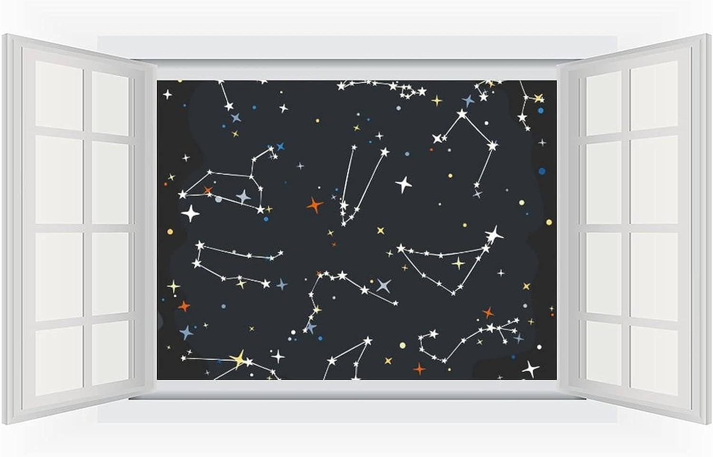 Open Free shipping on posting reviews Window Wall Mural Cartoon Zodiac Fake Tampa Mall Sky Stars 3D Windows
