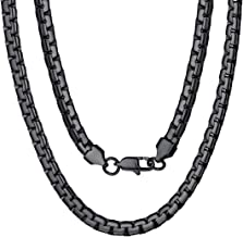 ChainsPro 4/6MM Round Box Link Chain Necklace, Engraved, 18/20/22/24/26/28/30 inches, 18K Gold Plated/316L Stainless Steel//Black (with Gift Box)