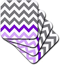 3dRose CST_179808_1 Charcoal Grey Chevron with Purple Zig Zag Accent Gray Zigzag Pattern Soft Coasters, Set of 4