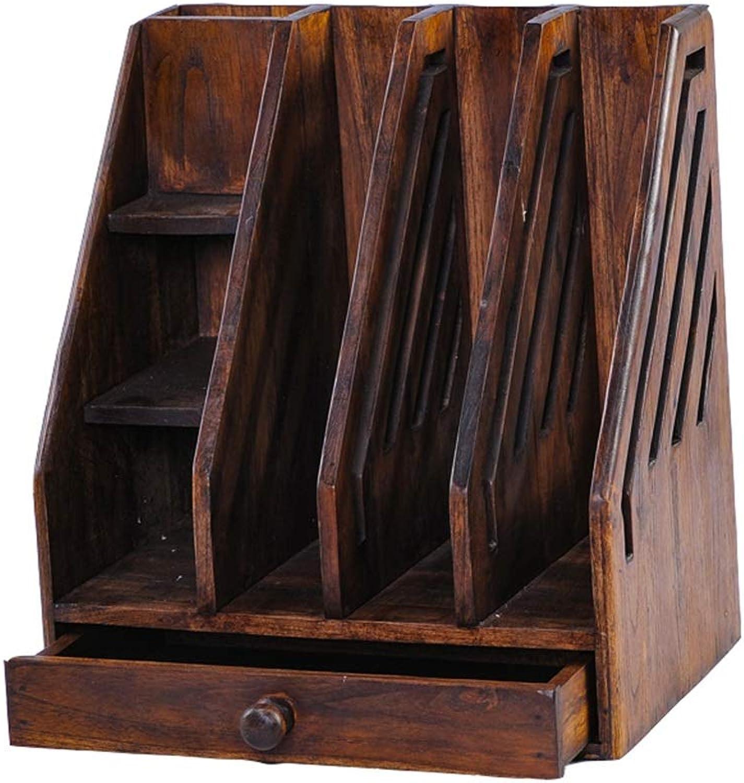 Book Stands Solid Wood Desktop Racks Retro Office Study File Storage Rack Bookshelf Platforms, Stands & Shelves (color   Brown, Size   32  22.5  36cm)