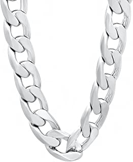 13mm Silver Plated Cuban Link Curb Chain Necklace + Microfiber Jewelry Polishing Cloth