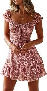 Womens Summer Ruffle Sleeve Sweetheart Neckline Printing Dress Mini Dress