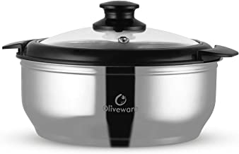 Oliveware Maestro Casseroles   Stainless Steel with Glass Lid   Keeps Chapati, Food Curry Meal Hot & Fresh Meal - Thermosteel & Double Wall Insulation - 2500 Ml