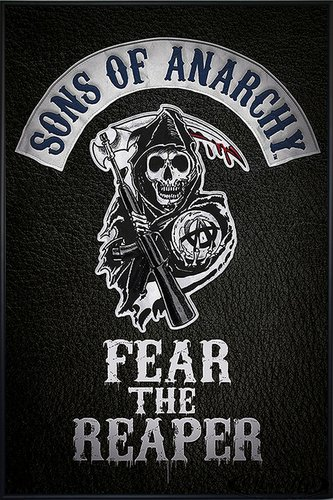 Close Up Sons of Anarchy Poster Fear The Reaper Logo (93x62 cm) gerahmt in: Rahmen schwarz