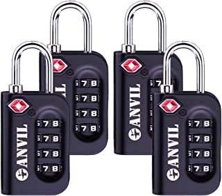 TSA Approved Luggage Lock - 4 Digit Combination padlocks with a Hardened Steel Shackle - Travel Locks for Suitcases & Baggage