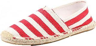 Hommes Espadrilles Classique Rétro Stripe Slip-on Mocassins Plat Antidérapant Low-Top Élégant Chaussures en Toile Respirantes