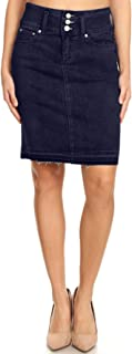 Women's Junior Knee Length Midi Pencil Denim Skirt