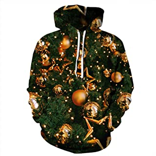Womens Mens Ugly Christmas Sweaters Funny Plus Size Hoodie Pullover Sweatshirts with Pockets XL-4XL