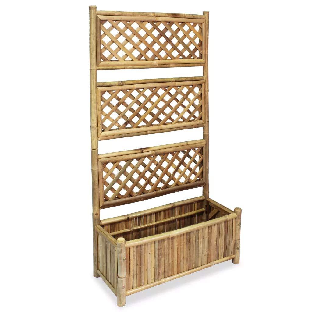 Wakects - Macetero de bambú con Enrejado, Maceta Rectangular y ...