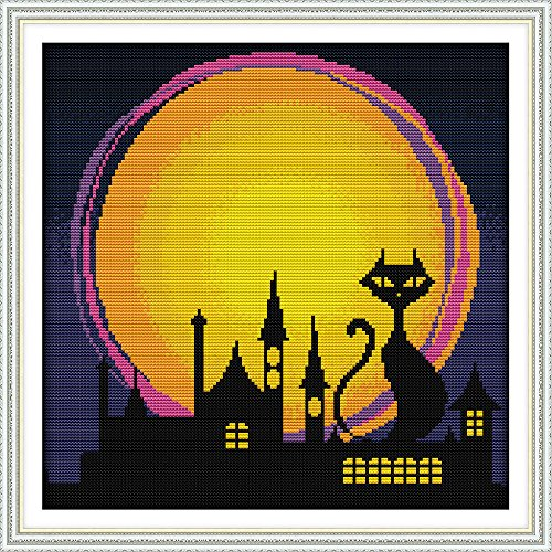 Maydear Cross Stitch Kits Stamped Full Range of Embroidery Starter Kits for Beginners DIY 11CT 3 Strands - The Night of Halloween 17×17(inch)