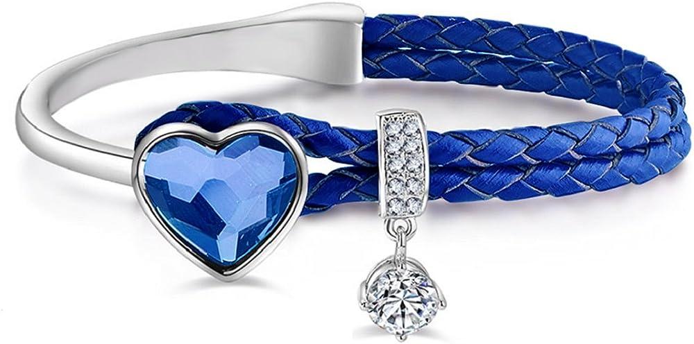 Le premium®  bracciale per donna in pelle intrecciata in nappa con cristalli a forma di cuore di swarovski 21.99