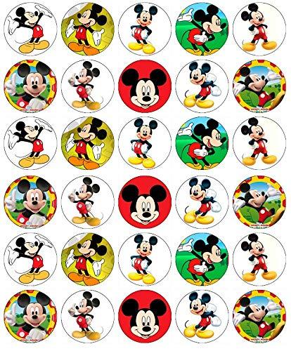 Cupcake-Topper Mickey Maus, essbares Oblatenpapier, 30 Stück