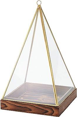 東京堂 ガラス花器 黄/金 縦横 約19×高さ 約32cm アンティークガラス&ウッドL GG003161