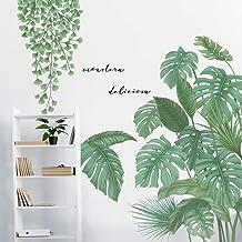 DIY Groene Planten Ginkgo Blad en Tropische Bladeren Muursticker VASZOLA Verwijderbare Waterdichte 3D Verse Bladeren Muurs...