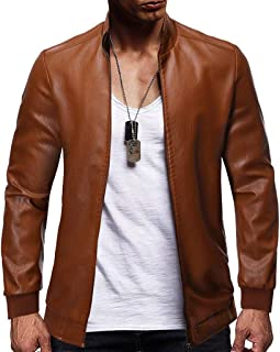 Mens Fashion Stand Collar Zipper Slim Fleece Faux Leather Jacket Coat Outdoor Sportswear