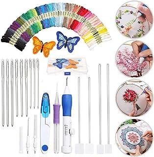 Moonmoonlala Stickerei-Starter-Set, magischer Stickstift / Stanznadel-Set mit 50 Farben Fäden, DIY Nähen Stickerei Kreuzstich-Set für Anfänger