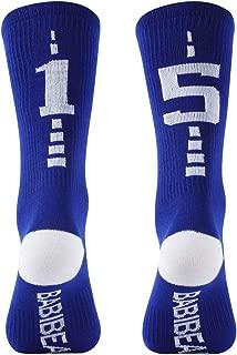 BABIBEAN Custom Team Number Socks, Youth and Kids Mid Calf Socks for Football, Baseball, Soccer, Basketball 1 Pair